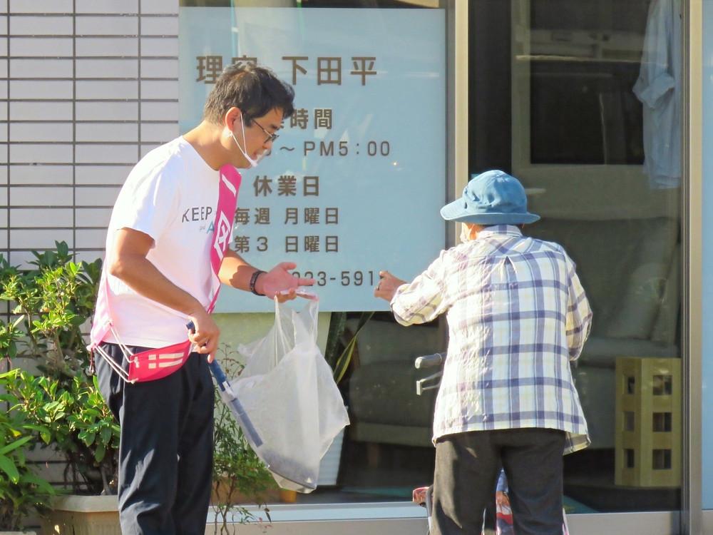 やすおか宏武 上本町交差点辻立ち、ゴミ拾い
