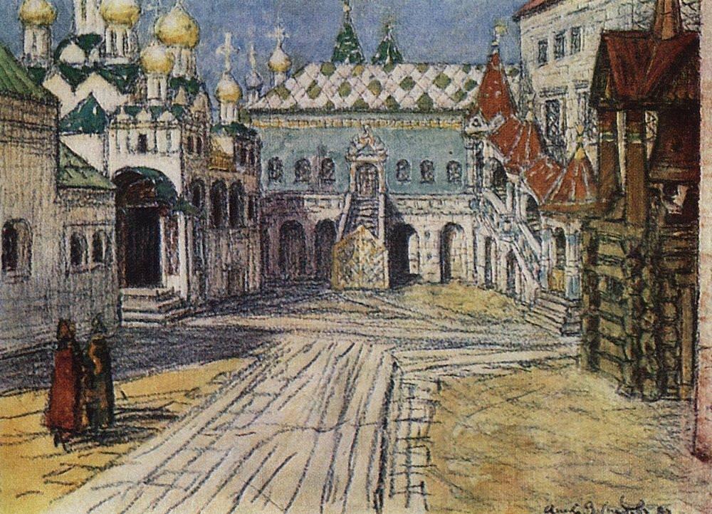 Царская площадка и Красное крыльцо Грановитой палаты в Кремле (1904 год)