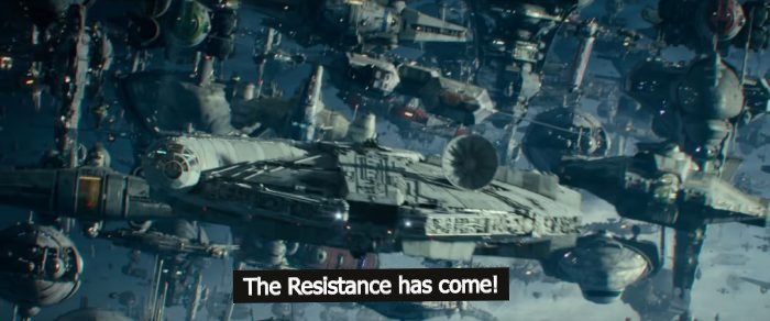 Star Wars resistance fighter ships assembled with the text, The resistance has come.
