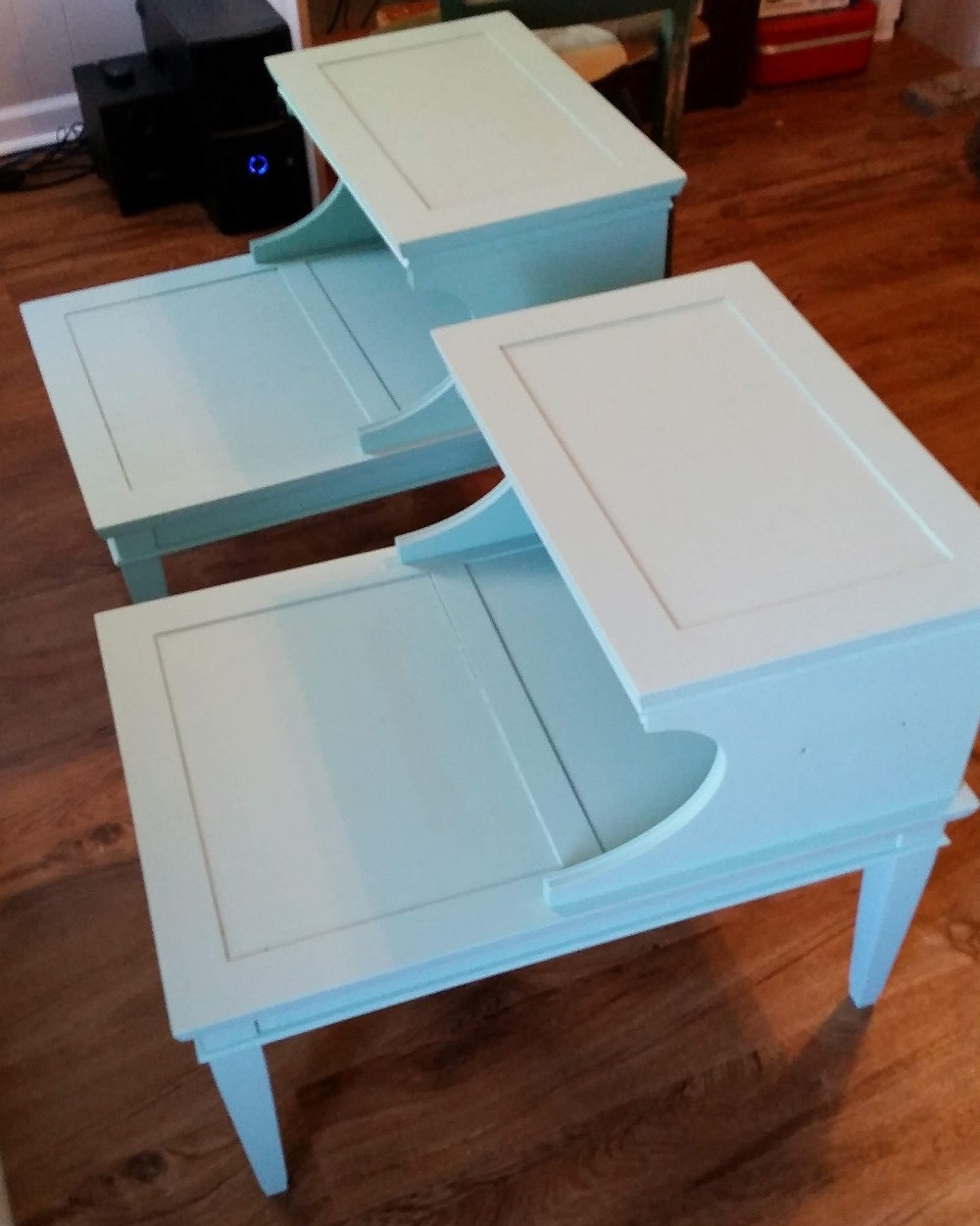 Side tables painted with chalk paint
