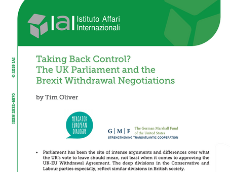 Taking Back Control? The UK Parliament and the Brexit Withdrawal Negotiations