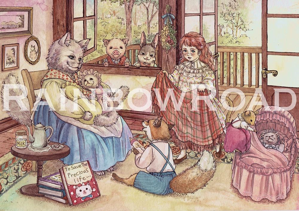 動物愛護がテーマのイラスト。『どうぶつのイラストブック』掲載。