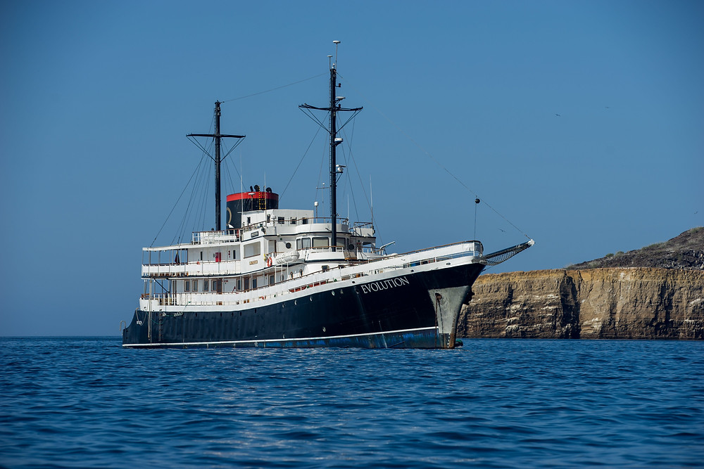 The M/Y Evolution Yacht sailing in the Galapagos Islands with Quasar Expeditions.