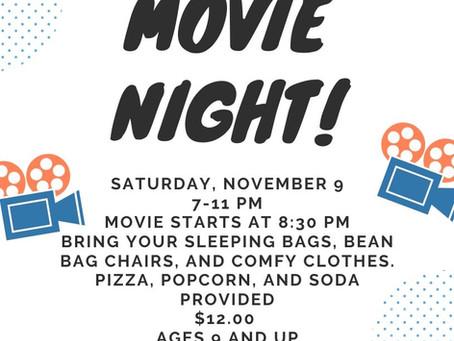 Teen Movie Night- Nov 9th 7-11 PM