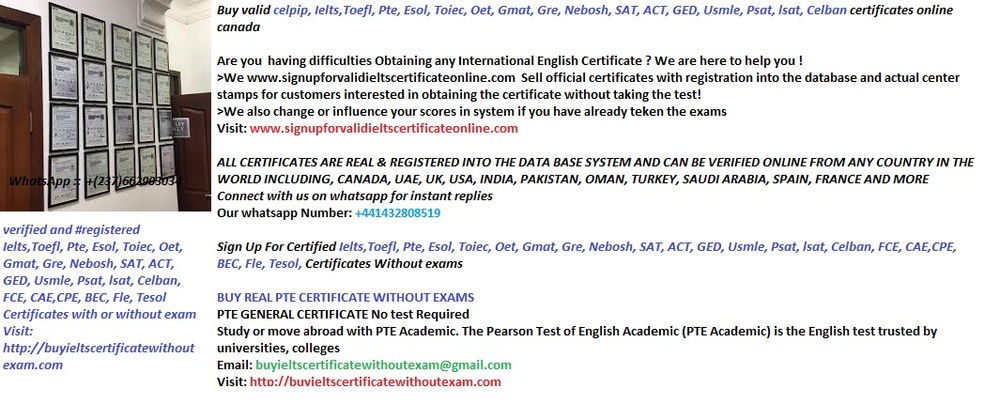 WhatsApp:+(237)662903034 Buy IELTS certificate without Exam