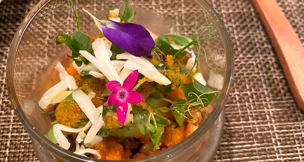 Edible Flower dish at Vegan restaurant Saido, Tokyo