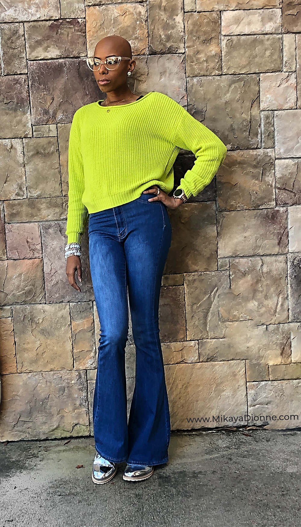 Get the scoop on this #GlambitionStyle roundup of neon green spring excitement and flared bottom jeans. Mikaya Dionne shares details on pieces she coordinated to bring this ensemble together.