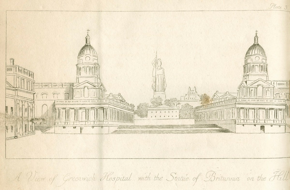 John Flaxman, A View of Greenwich Hospital with the Statue of Britannia on the Hill, 1799, Etching, 188mm x 188mm, 1799, Royal Academy of Arts, https://www.royalacademy.org.uk/art-artists/work-of-art/a-view-of-greenwich-hospital-with-the-statue-of-britannia-on-the-hill.