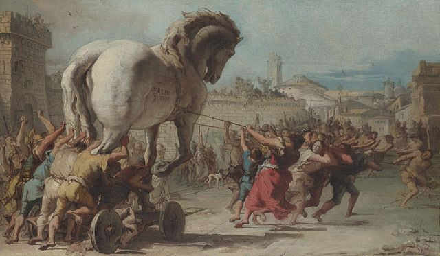 The Trojans bring the wooden horse into their city
