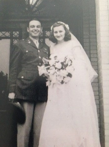 On our wedding day, 1945.