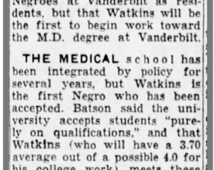 """""""VU Med School Gets 1st Negro"""""""