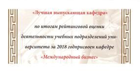 Кафедра «Международный бизнес» - лучшая выпускающая кафедра РУТ (МИИТ)
