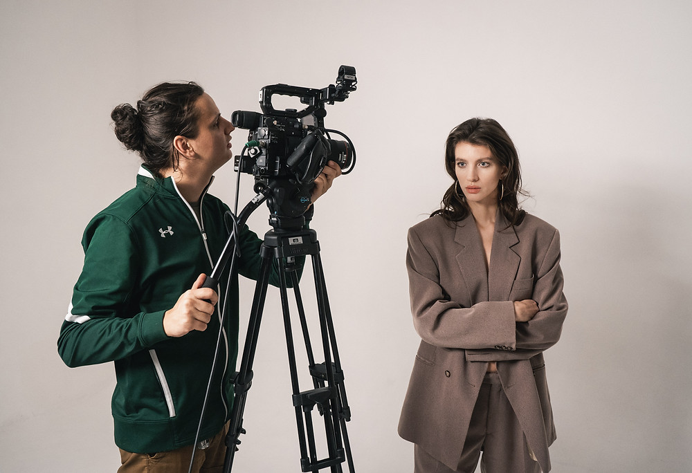 Videographer and Model working on a photoshoot