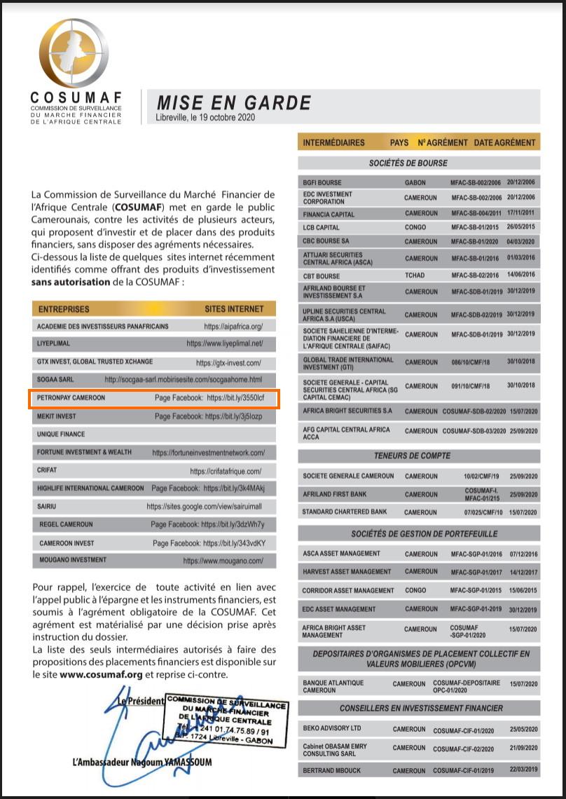 PetronPay Mise en garde COSUMAF.