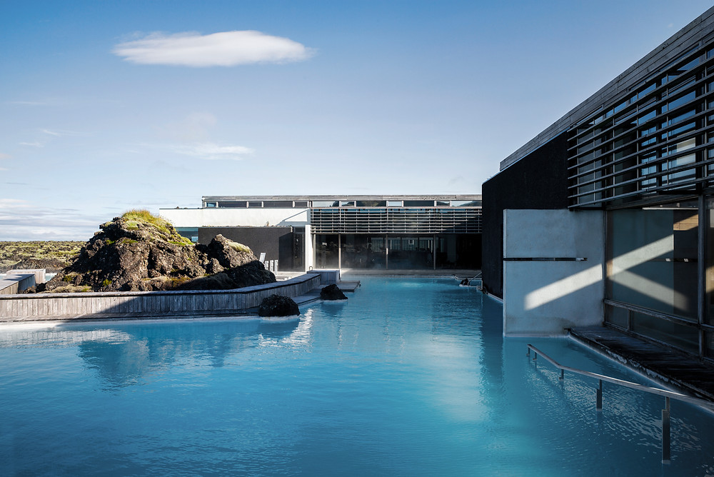 Private spa lagoon area of the Silica Hotel at the Blue Lagoon, Iceland