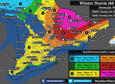 Winter Storm Targets Ontario; 35cm+ Possible