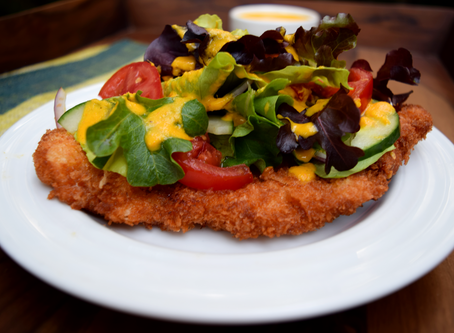 Chicken Katsu and Salad with Carrot-Miso Dressing