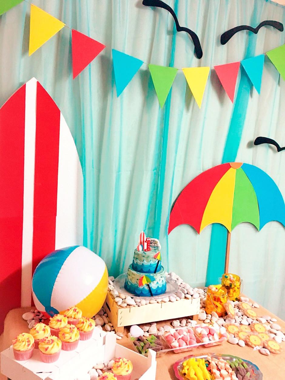 mesa dulce cumpleaños playa