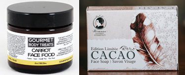 (Left) Carrot Face Food from Gourmet Body Treats (https://gourmetbodytreats.com/collections/skincare/products/carrot-face-food) and (Right) Cacao Face Soap from Hermann Gourmet Cosmetics (http://www.hermanncosmetics.com/store/p53/Cacao_Face_Soap_.html)