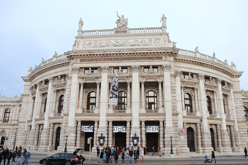 Exterior of the Burgtheater in Vienna showing the architecture