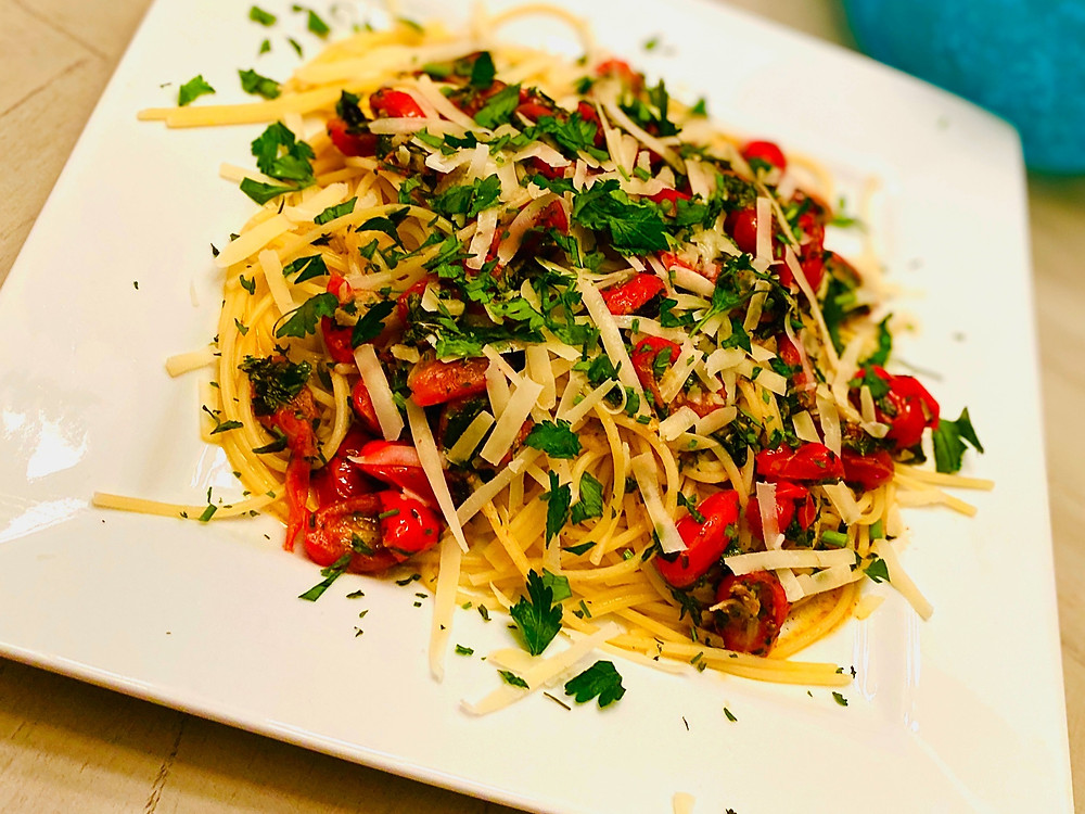 Gluten Free Pasta with Tomatoes, Herbs, Garlic, and Cheese