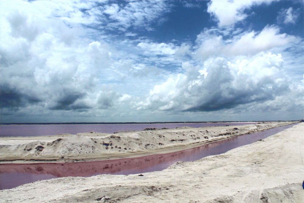 The beach with the pink water of Los Coloradas, Yucatan