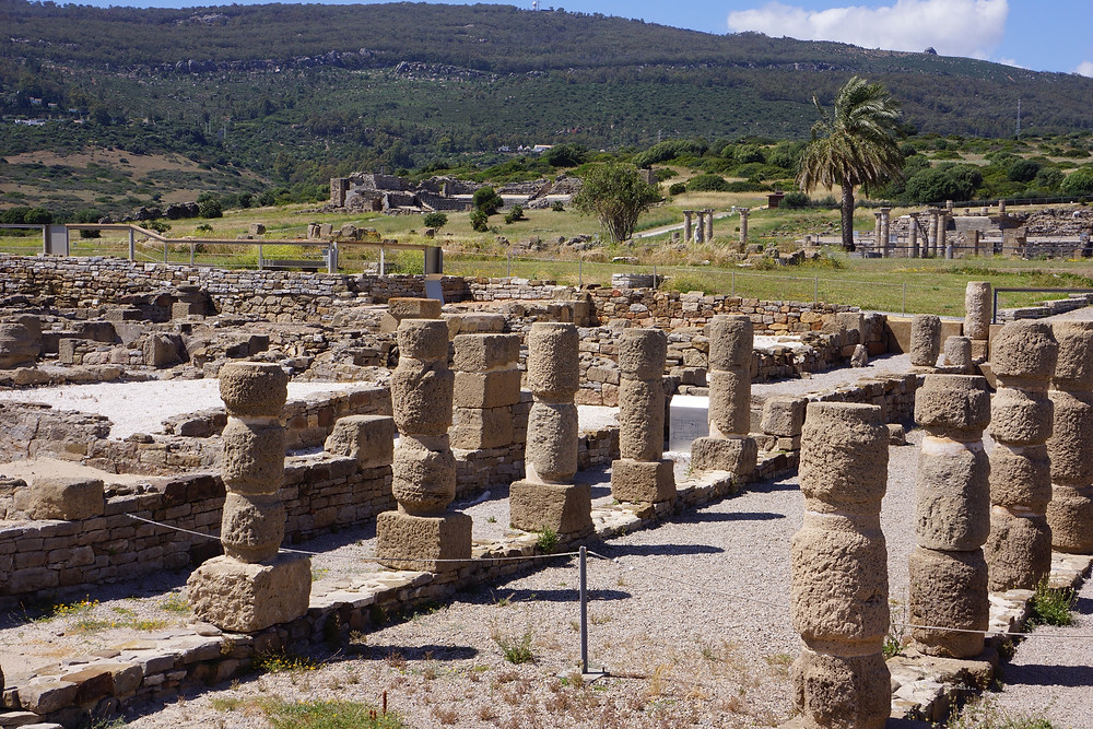 Rows of pillars at the Roman site of Baelo Claudia, near Bolonia beach.