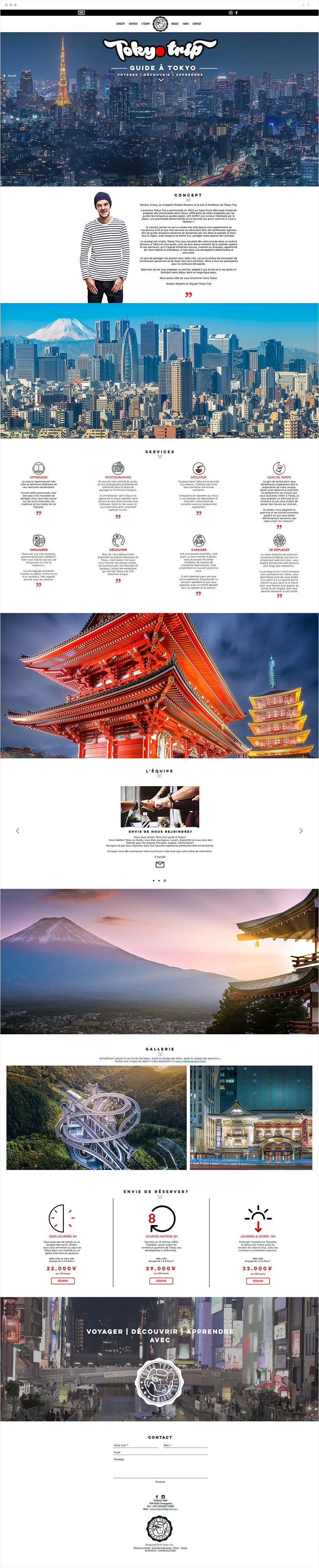 Exemple de site one-page - Tokyo Trip