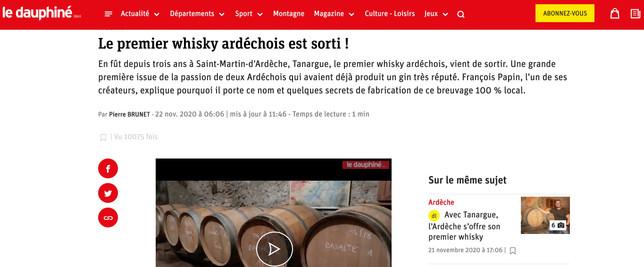 Le Dauphiné Libéré - Le premier whisky ardéchois est sorti !