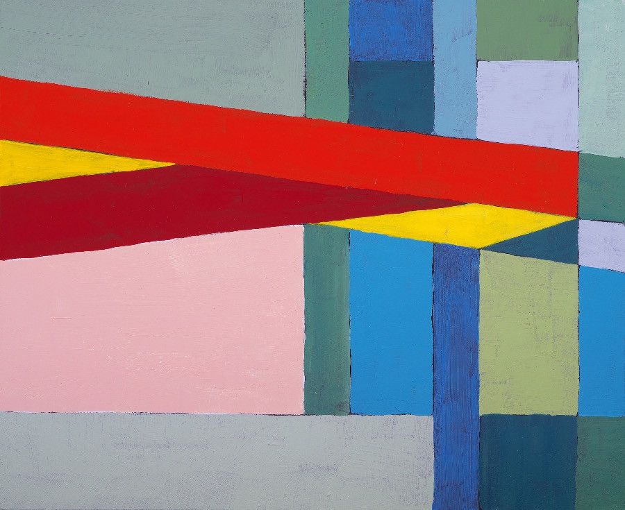 Angular style of painting with thick lines of colour in blocks.