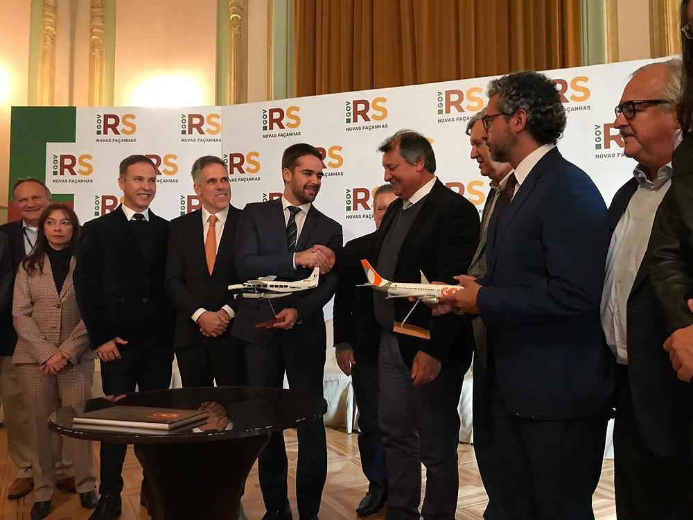 O anúncio oficial dos voos regionais da empresa Gol Linhas Aéreas foi objetivado no Palácio Piratini, em Porto Alegre.