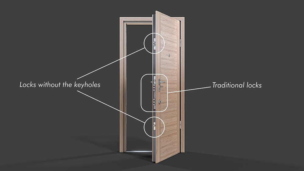 Markup for the product 3D rendering for the opened door with the additional locks