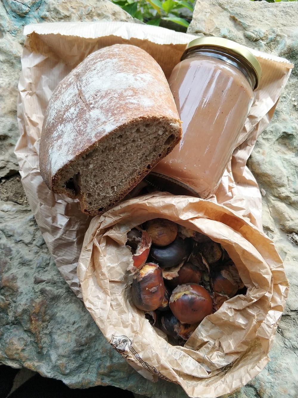 a chestnut loaf, roasted chestnuts and a jar of chestnut confiture