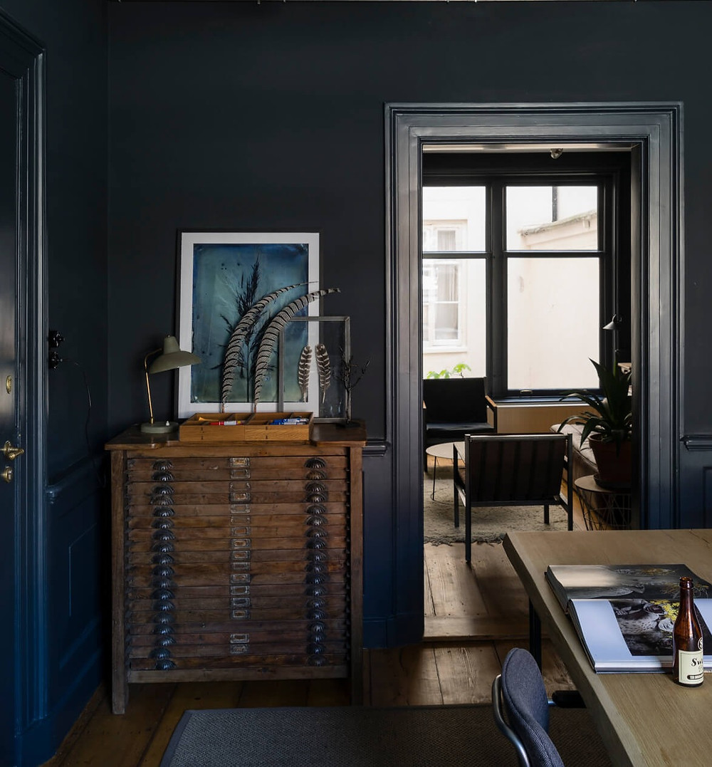 Dark paint Railings No 31 by Farrow & Ball paint in a home office setup