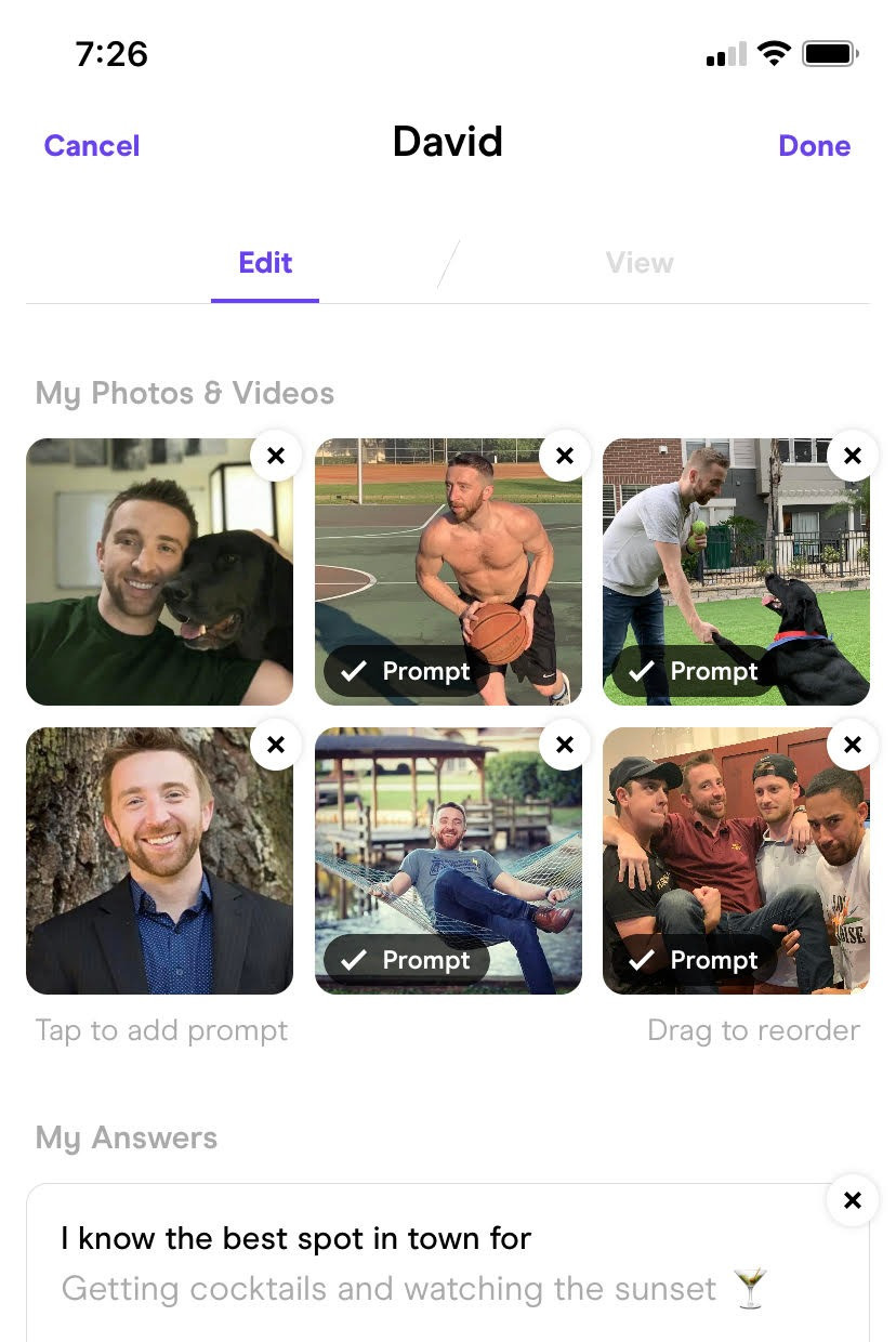 Hinge profile, prompts, and picture example. The Hinge dating app allows for 6 photos to be uploaded to each profile, and allows for three prompts to be included in each profile.