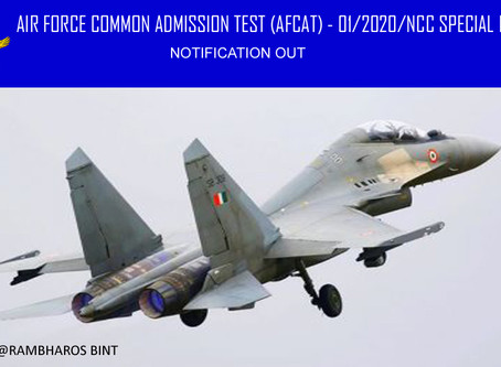 NOTIFICATION - AIR FORCE COMMON ADMISSION TEST (AFCAT)