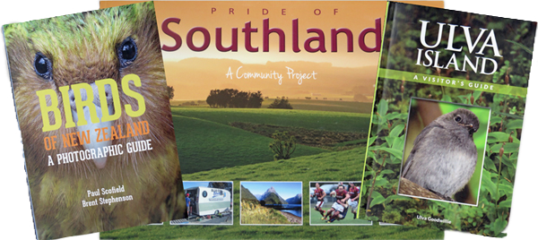 """""""Birds of New Zealand A Photographic Guide"""", """"Ulva Island Visitor's Guide"""", and """"Pride of Southland"""""""