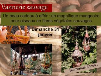 Dimanche 31 janvier, un atelier en vannerie sauvage pour préparer l'hiver: mangeoires pour oiseaux.