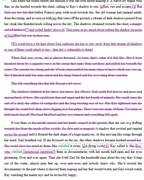 A screenshot of a page of typed text. The majority of it is highlighted or crossed out in purple track changes.