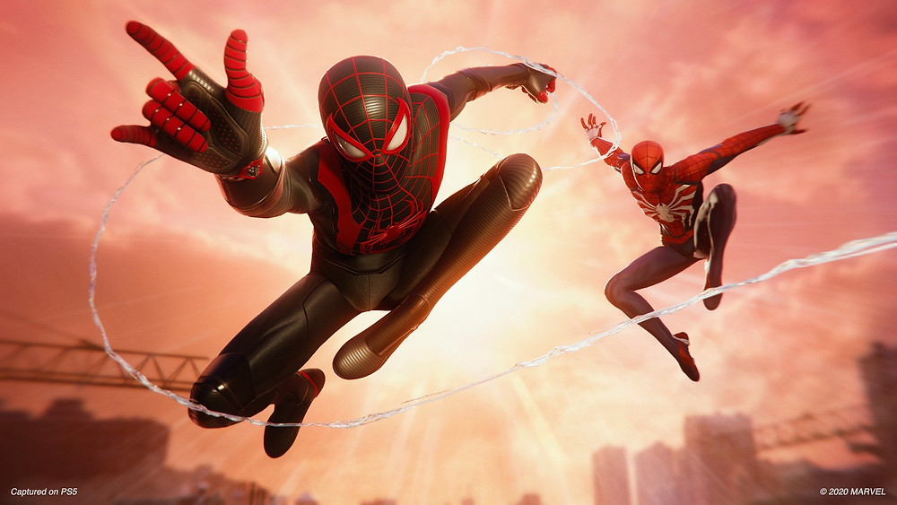Spiderman PS5, miles morales and peter parker swinging together