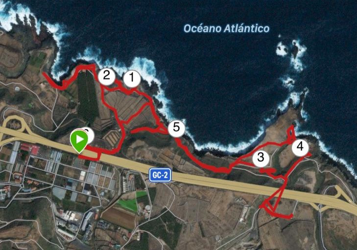 Captura de pantalla de Garmin carretera del norte de Gran Canaria. La Carraqueña, costa de Arucas