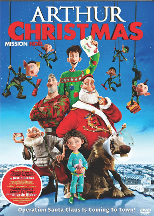 Arthur Christmas dvd cover with Santa, Arthur and elves