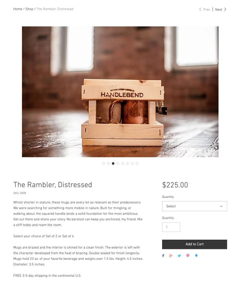 handlebend the rambler product page