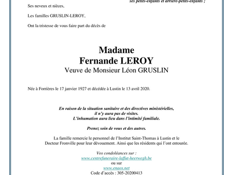 Annonce nécrologique de Madame Fernande Leroy, veuve de Monsieur Léon Gruslin.