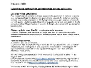 Boletín en español - 28 de Abril, del 2020