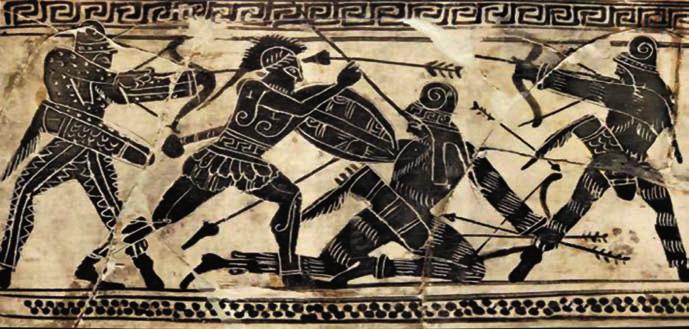 Σκηνή μάχης Έλληνα οπλίτη με Πέρσες τοξότες από μελανόμορφη λήκυθο 490-480 π.Χ. (Εθνικό Αρχαιολογικό Μουσείο).