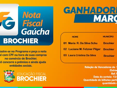 Relação dos Premiados de Março do programa Nota Fiscal Gaúcha - extração municipal.