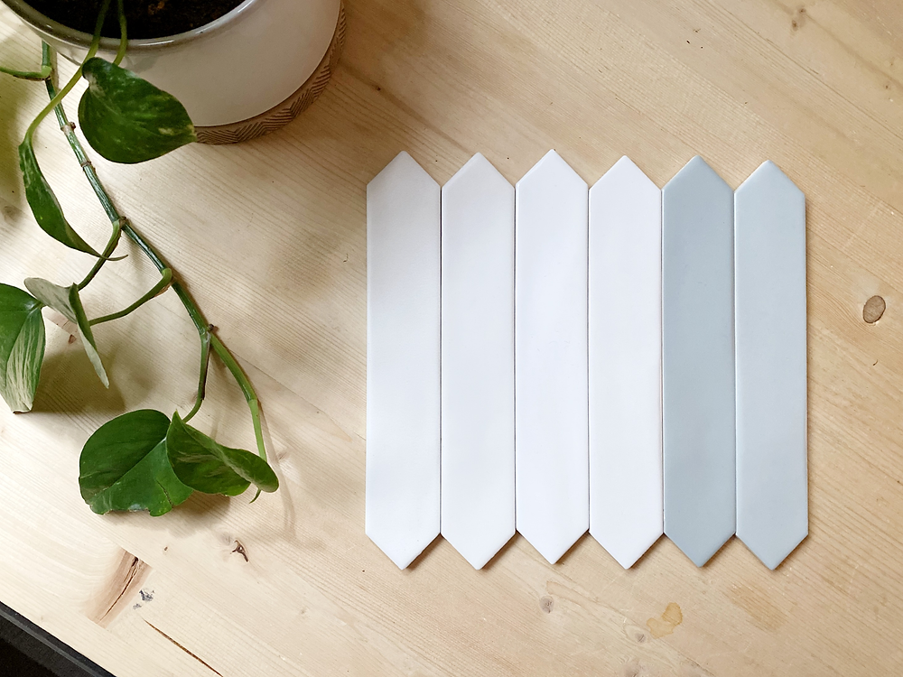 skinny monochromatic picket tile watercolor line
