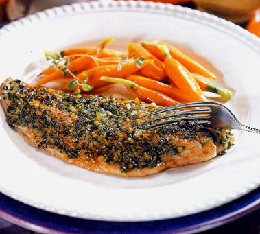 Grilled Snapper with Almond Oregano Pesto