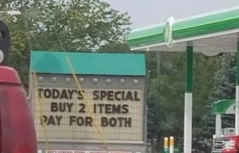 Today's Special Buy 2 Items Pay for Both Sign